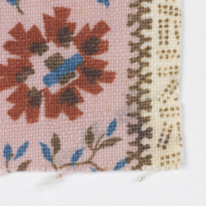 Striped pattern of brown dotted shapes alternate with flowers on white, brown and red and red, brown and blue flower on pink.