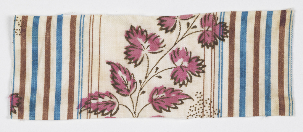 Floral spray in pink and black with brown and blue stripes on a white background.
