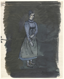 Vertical rectangle. Woman (Nora) in dark blue dress, gray apron.