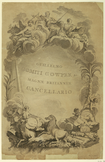 Print, Memorial to William Earl Cowper, ca. 1730