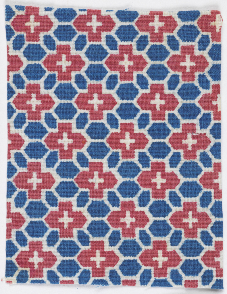 Red and blue shapes in a net-like grid on white.