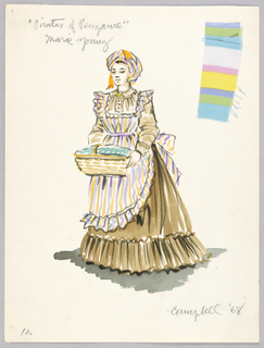 Vertical rectangle. Woman in long flounced brown skirt, striped apron, holding a basket. One fabric swatch attached.