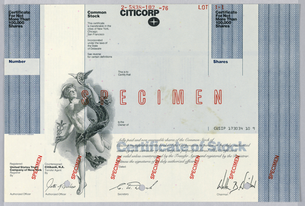 Design for stock certificate broken into roughly four distinct areas. On upper left is a long, vertical box infilled with a blue security pattern. Written in upper left: Certificate For Not More Than 100,000 Shares. About half way down section is white box for certificate number. On the right side of document is another, smaller blue box with same phrase and white box for number of shares. Filling up a little more than a fourth of the document is a light blue box extending from upper right corner. Within this section is stock certificate information, the Citicorp logotype and logo, and, further down, space to signify certificate owner. Below blue box is a paragraph in script discussing validity of certificate in front of the text: Certificate of Stock, rendered in light blue. Running along entire bottom of certificate are signatures from authorized officers, secretary, and chairman. About a third of height down and a fifth of width across, an etching of Hermes is depicted. He is loosely clothed and holds a caduceus and winged wheel. On right side of document, a vertical box running length of page is filled with blue security pattern.
