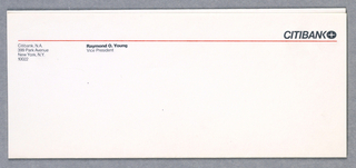 Citibank envelope with address and sender, Raymond O. Young. Citibank logo and red line underneath.
