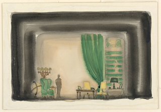 Horizontal format. A large library interior hung in green curtains and filled with books; furniture covered in yellow and green upholstery. Desk at right with lamp, a globe of the world and candelabra at left. A figure stands left center. Black framing lines.