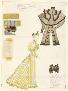 Vertical format. A yellow striped dress of velvet is shown at lower left dressing a female figure. A brown felt coat and muff of fur at upper and lower right. Attached fabric swatches and graphite sketches at upper left. Stamp and signature at lower right.