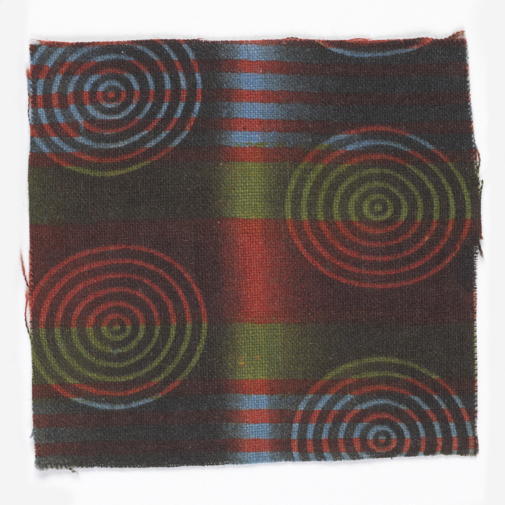 Concentric circles and stripes in brown, blue, red and green.