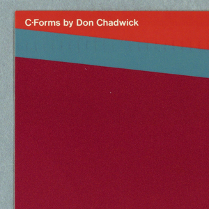 In light blue, maroon, and orange, close-up of a piece of furniture. Text in white ink: C-Forms by Don Chadwick; herman miller
