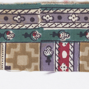 Horozontal and vertical stripes decorated with floral and geometric shapes in black, red, green, lavendar and two browns on white.