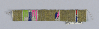 Gold trimming with occasional tapestry inserts of geometrical forms in silver, blue, red, pink and green. Slit tapestry separations.