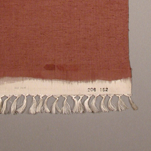 Narrow length of silk suitable in length for creating a kimono. Crisp silk with some slubs, hand-dyed in medium reddish-brown. Cutwork squares with needle lace fillings sparsely arranged over surface.
