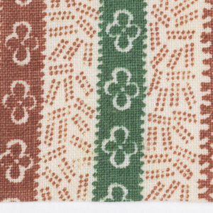 Stripes with brown dotted shapes alternate with green, brown and pink stripes with reserved flowers and wider stripe of flowers and leaves. White background.
