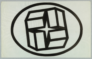 Horizontal oval, outlined in black, enclosing set of four boxes clustered radially together. Negative space formed by this ring creates four-pointed star shape.