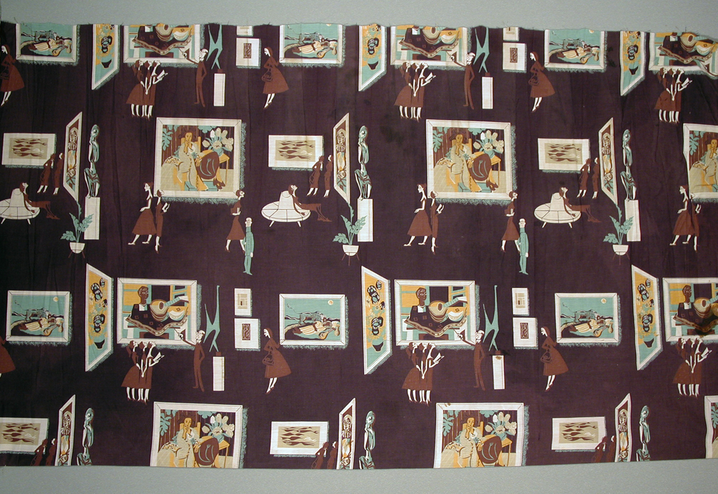 """Dress-weight plain weave cotton, printed in four colors: brown, dark purple, light green, and dark yellow. The dark purple is used as the background of the pattern, while the white or unprinted areas are part of the image. The pattern depicts fashionable ladies of the 1950s visiting an art museum, possibly the Museum of Modern Art in New York. One cluster of ladies is being lectured by a male professor with a pointer. Another is seated on a round banquette. There is also a male museum guard in uniform, and some potted plants. One painting, """"The Sleeping Gypsy"""" by Henri Rousseau, is specific and recognizable, others are less specific: a vase with sunflowers by Vincent van Gogh, a harlequin by Pablo Picasso, a portrait by Henri Matisse, a sculpture by Alexander Calder, a small canvas by Piet Mondrian."""