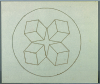 Cirlce, outlined in gray, enclosing four boxes drawn in perspective facing away from each other. Negative area at center forms a four pointed, vertically oriented star.