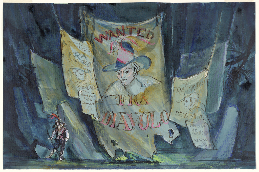 "Horizontal rectangle. Dark blue background; large hanging sign: ""Wanted, Fra Diavolo"" with man's portrait, center. Four other ""wanted"" signs. Lower left, figure of a man."