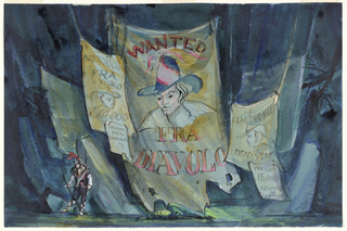 """Horizontal rectangle. Dark blue background; large hanging sign: """"Wanted, Fra Diavolo"""" with man's portrait, center. Four other """"wanted"""" signs. Lower left, figure of a man."""