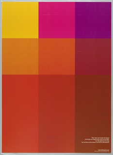 A large grid of bright colors: yellow, pink, purple, orange and reds. Text in white, lower right: The wise man looks into space / and does not regard the small as too little, / nor the great as too big; / for he knows that there is no limit to dimensions.