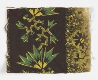 Jagged yellow and green shapes on brown.