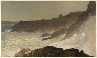 Horizontal view of surf pounding hard against the rocky Maine coast with low wooded hills seen beyond a bay in the left background.