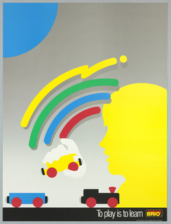 Silhouette of a boy's profile in yellow with white hands he holds a train car; rainbow overhead. In white, on black: To play is to learn. BRIO logo.