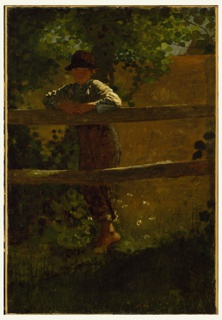A boy in overalls and a hat leans on a rail fence looking ahead at the viewer against a background of trees, meadow flowers, grasses, and a wheat field.