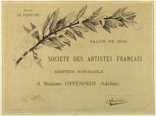 Certificate, Mention Honorable a Madame Oppenheim (Adeline), Société des Artistes Français, Salon de 1900, Section de Peinture