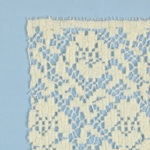 Two hundred and eight samples of machine-made openwork in imitation of bobbin laces and mounted on boards.  All are floral patterns plus a few of an early 1920's geometric style. Several of the curtain laces made on the Levers machine.