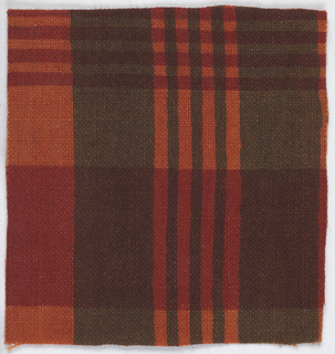 Plaid in red, orange and brown.