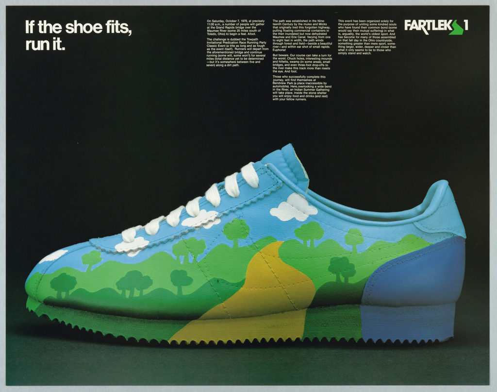 """Profile of a sport shoe decorated with a cartoonish landscape. In white upper left: If the shoe fits, / run it. Blocks of white text describing an event that will take place. Upper right Fartlek logo (Fartlek is a type of solo running; in Swedish = """"speed play"""")."""
