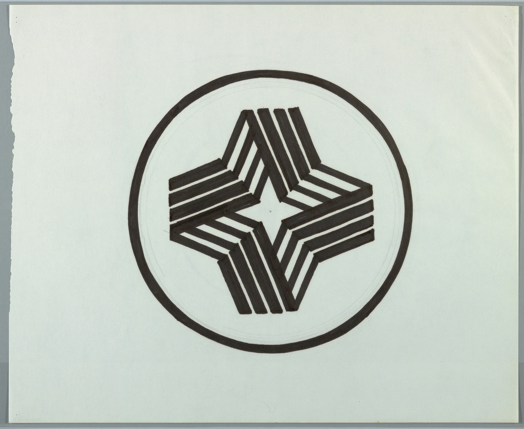 Circle, outlined in black, enclosing four-pointed star shape constructed from four clusters of four bent lines arranged to create illusion of a folded ribbon. Interior negative space of structure forms another four-pointed star shape.