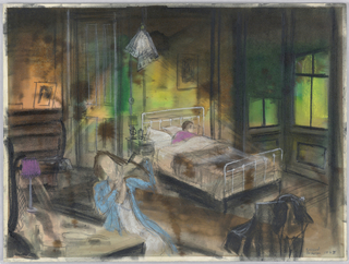 """Drawing, Sketch of Bedroom Scene for """"Adding Machine"""""""