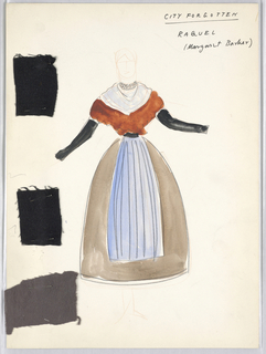 Vertical rectangle. Standing woman in peasant dress, wearing a blue apron. Three swatches of material pinned on.