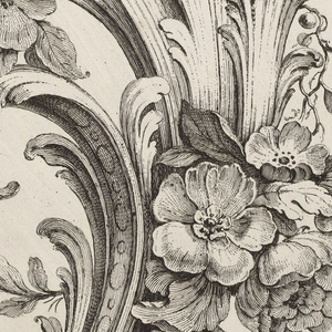 Large ornament design consisting of swirling acanthus leaves, known as raffle leaves, forming C and S scrolls. Amongst the leaves are clusters of flowers with their natural foliage.