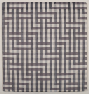 Woven silk panel with a large-scale interlacing pattern reminiscent of the interaction of threads in weaving, in brown, black and off-white.
