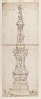Drawing, Design for the Obelisk of St. Dominic, Piazza San Domenico Maggiore, Naples