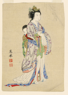 Woman and child: Vertical rectangle: Standing woman waving a multi-colored kimono. Behind her a child clutches at her garments. Inscription, left side. Creased.