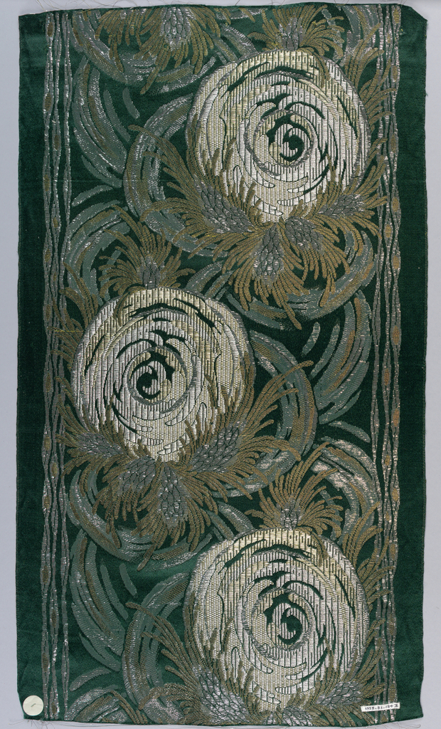Vertical motif of roses worked in gold, bronze, and silver colored threads on plain satin ground. Ground colors of a) pink; b) forest green; c) turquoise; d) navy blue; and e) black.
