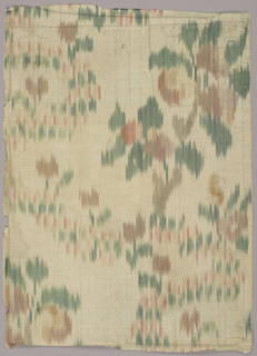 Chiné silk fragment with a large flowers and smaller sprigs in light green and shades of dull red, orange and pink on a cream-colored ground.