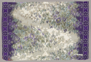Chiné-printed ribbon has a muted zigzag pattern and small flowers in shades of purple and green. Over this are woven lobed medallions containing stylized symmetrical floral forms with narrow dark purple borders containing rosettes.