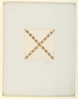 """Two striped bands (yellow, orange, blue, brown and white) cross to form an """"X"""" on a cream background."""