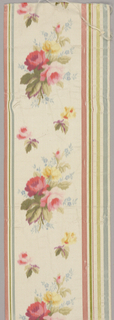 Double-faced broad ribbon with white silk horizontally ribbed plain cloth ground. Narrow stripes of pink, green, yellow, and light blue along edges, formed by extra warp. Central design of sprays of yellow and red roses, and small blue flowers, all chiné dyed.
