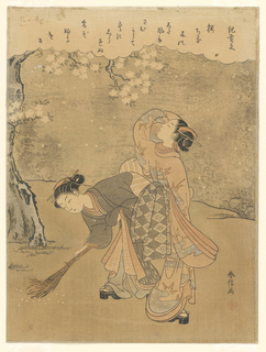 "Woodblock Print, April, from series of  ""Social Customs..."", ca. 1770"
