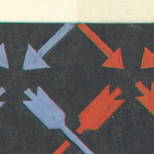 On black background a pattern of crossed arrows in blue and red
