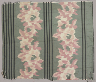 Chiné silk fragment with narrow black stripes between two vertical columns of pinkish flowers on a grey ground.