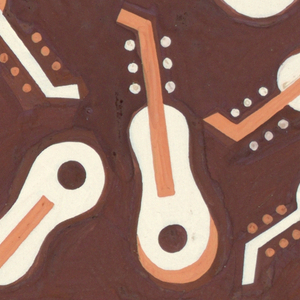 Pattern of stylized violins in white and orange against a brown background.