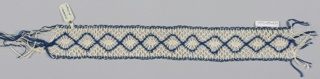 Band of lace worked in a provincial style with a pattern of continuous diamonds.