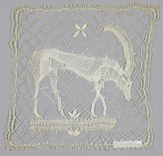 Bobbin lace square with a horned ibex on a braided diamond-mesh ground.