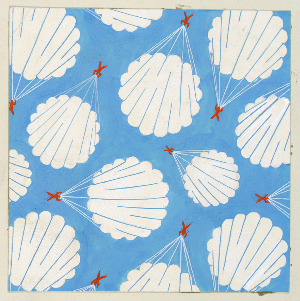 Against a blue background, a pattern of white parachutes from which small, red figures are suspended by ropes.