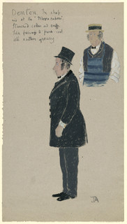 Drawing, Costume Design: Denton, for Hobson's Choice, ca. 1954